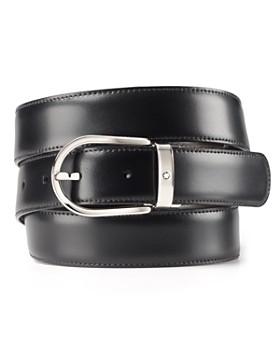 Montblanc - Palladium-Coated Horseshoe Reversible Leather Belt