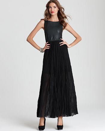 Alice and Olivia - Arra Stitched Leather Top Maxi Dress