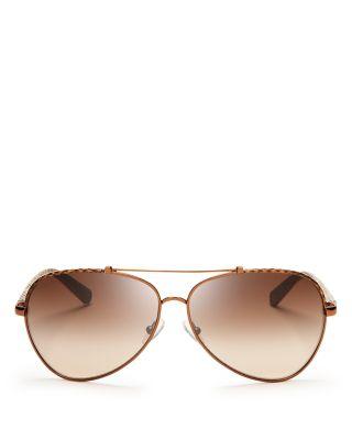 $Tory Burch Women's Signature Aviator Sunglasses, 62mm - Bloomingdale's