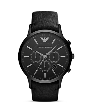 Emporio Armani Black Leather Watch, 46mm