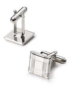 The Men's Store at Bloomingdale's Silver-Tone Check Square Cufflinks - 100% Exclusive_0