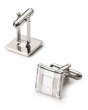 The Men's Store at Bloomingdale's Silver-Tone Check Square Cufflinks - 100% Exclusive