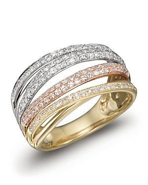 Diamond Pave Tricolor Gold Band, .55 ct. t.w. - 100% Exclusive