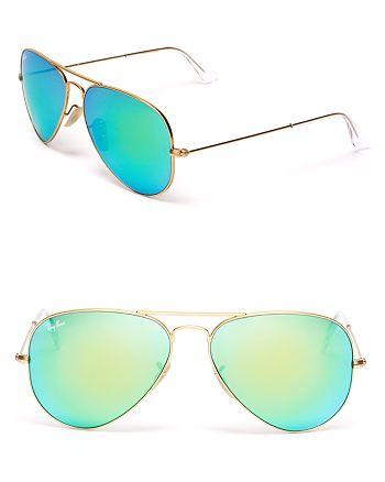 Ray-Ban - Unisex Mirrored Brow Bar Aviator Sunglasses, 59mm