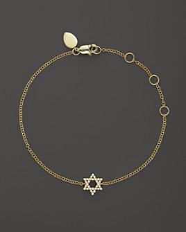 Meira T - 14K Yellow Gold Star of David Bracelet with Diamonds, .13 ct. t.w.