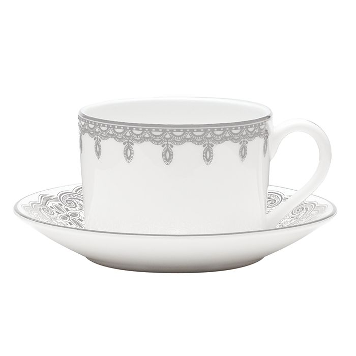 Waterford - Lismore Lace Platinum Teacup & Saucer