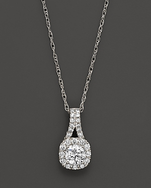 Halo Pendant in 14K White Gold, .40 ct. t.w. - 100% Exclusive