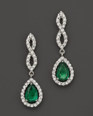 Emerald and Diamond Open Weave Pear Shaped Drop Earrings in 14K White Gold - 100% Exclusive