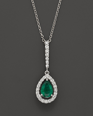 Emerald and Diamond Pear Shaped Pendant in 14K White Gold - 100% Exclusive