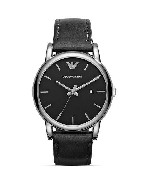 Emporio Armani - Three Hand Black Leather Watch, 41 mm