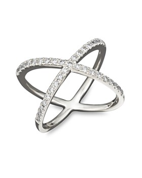Bloomingdale's - Diamond Open Cross Ring in 14K White Gold, 0.40 ct. t.w. - 100% Exclusive
