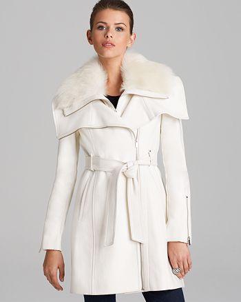 BCBGMAXAZRIA - Asymmetric Belted Fur Collar Coat