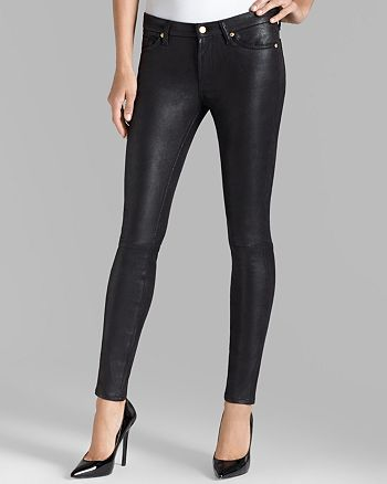 7 For All Mankind - Knee Seam Skinny Jeans in Black