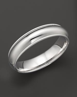 Men's 14K White Gold Comfort Feel Milgrain Wedding Band - 100% Exclusive