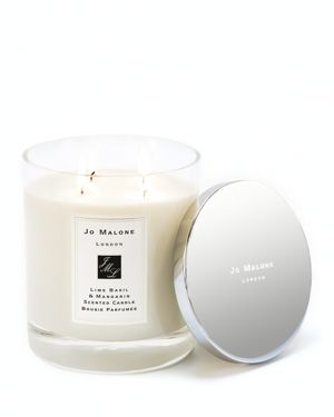 Lime Basil & Mandarin Scented Deluxe Candle, 600G in Colorless