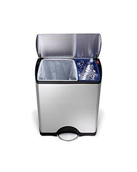 simplehuman - 46-Liter Rectangular Step Garbage & Recycling Can