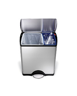simplehuman - 46-Liter Rectangular Step Garbage & Recycling Can