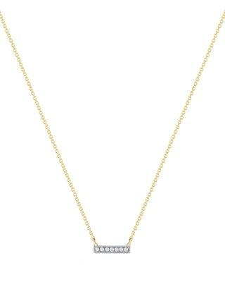 DANA REBECCA DESIGNS 14K White And Yellow Gold Sylvie Rose Mini Bar Necklace With Diamonds, 16