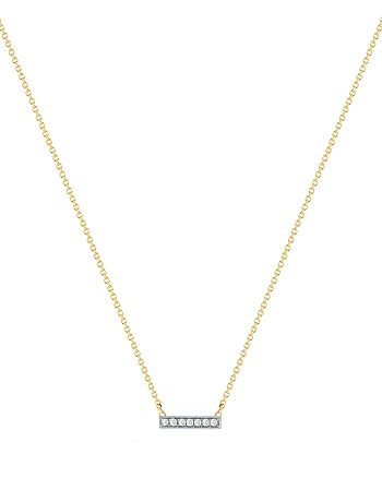 Dana Rebecca Designs - 14K White and Yellow Gold Sylvie Rose Mini Bar Necklace with Diamonds, 16""
