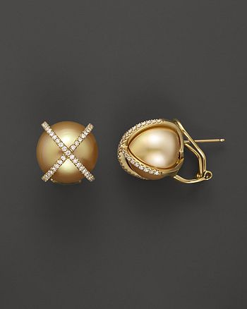 Tara Pearls - X's & O's 18K Yellow Gold Diamond and Natural Color Cultured Gold South Sea Pearl Earrings, 14-15mm