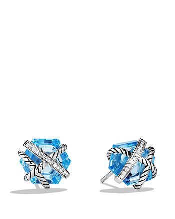 David Yurman - Cable Wrap Earrings with Blue Topaz and Diamonds