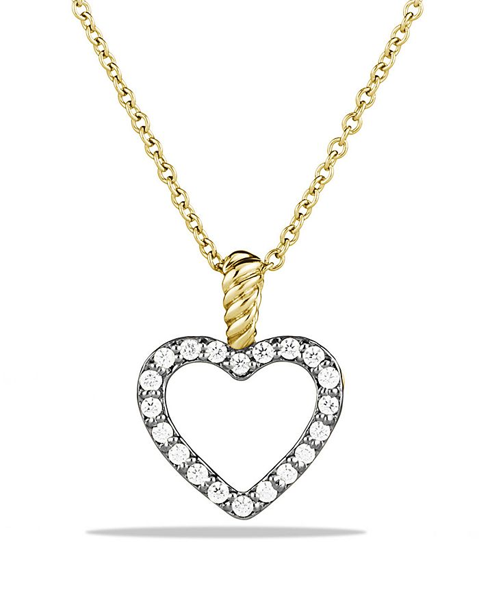 David Yurman - Cable Collectibles Heart Pendant with Diamonds in Gold on Chain