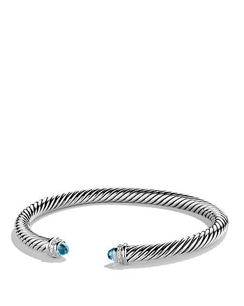 David Yurman - Cable Classics Bracelet with Blue Topaz & Diamonds