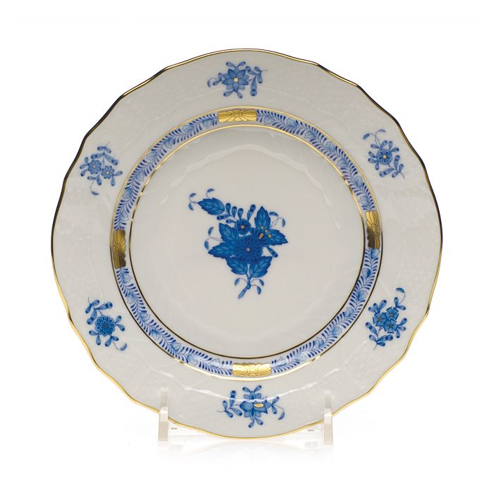 """Herend - Chinese Bouquet Blue Bread & Butter, 6"""""""