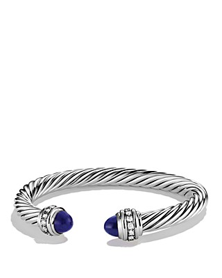 David Yurman Cable Clics Bracelet With Lapis Lazuli Diamonds Bloomingdale S