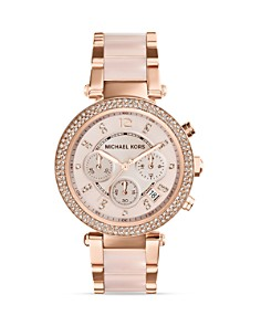 Michael Kors Blush Acetate and Rose Gold Tone Parker Glitz Watch, 39mm - Bloomingdale's_0