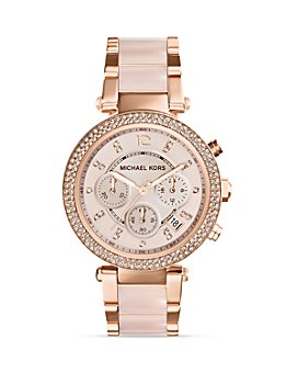 Michael Kors - Blush Acetate and Rose Gold Tone Parker Glitz Watch, 39mm