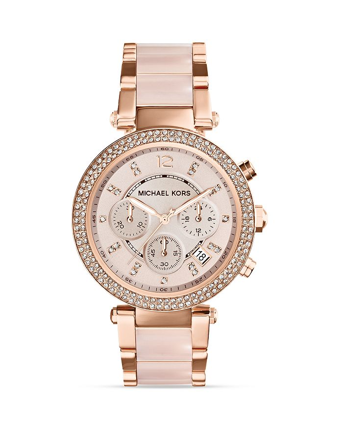 Michael Kors - Blush Acetate and Rose Gold Tone Parker Glitz Watch, 39mm