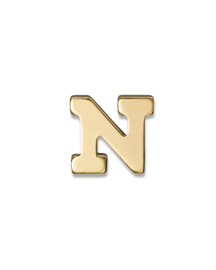 ZoË Chicco 14k Yellow Gold Single Initial Stud Earring In N