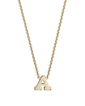 """Zoë Chicco - 14K Yellow Gold Initial Necklace, 16"""""""