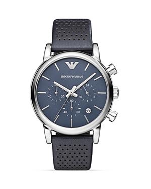 Emporio Armani Luigi Perforated Leather Strap Watch, 41mm