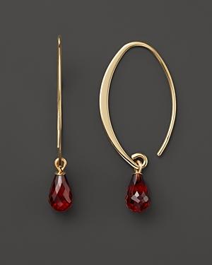 14K Yellow Gold Simple Sweep Earrings with Garnet