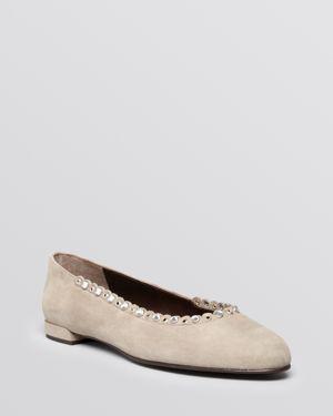 Stuart Weitzman Ballet Flats - Sparkly Crystal Scalloped