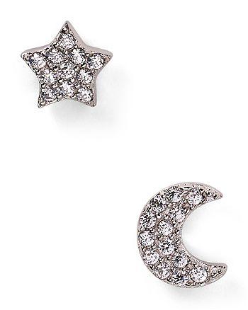 Crislu - Moon & Star Stud Earrings