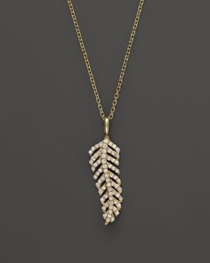 Kc Designs Diamond Feather Necklace in 14K Yellow Gold, 16