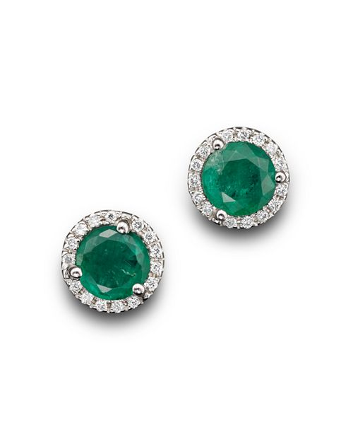 Bloomingdale's - Emerald and Diamond Halo Stud Earrings in 14K White Gold- 100% Exclusive