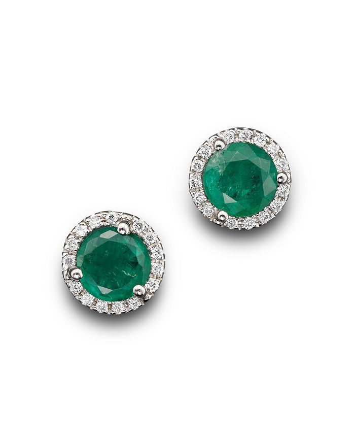Emerald And Diamond Halo Stud Earrings In 14k White Gold 100 Exclusive