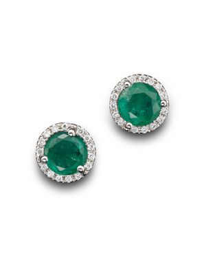 Emerald and Diamond Halo Stud Earrings in 14K White Gold - 100% Exclusive