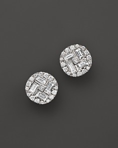 Roberto Coin 18K White Gold Diamond Baguette Stud Earrings - Bloomingdale's_0