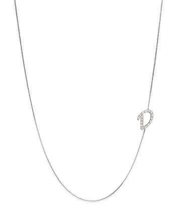 KC Designs - Diamond Side Initial D Necklace in 14K White Gold, .09 ct. t.w.