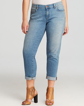 Eileen Fisher Plus - Roll Cuff Boyfriend Jeans in Faded Blue