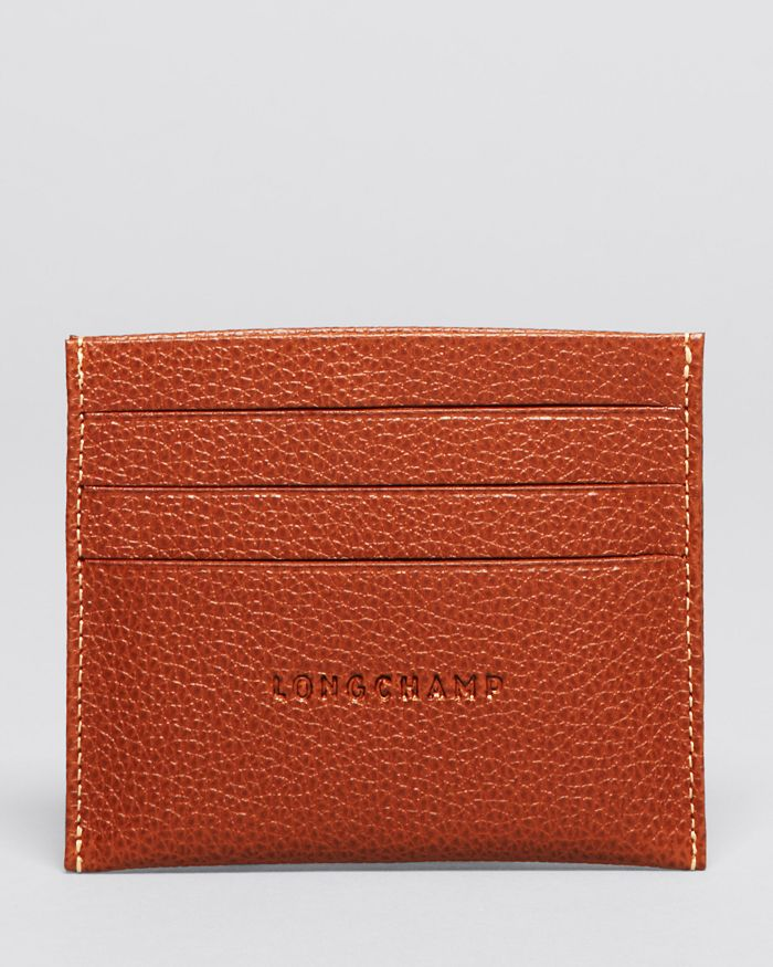 Longchamp Le Foulonne Card Case In Cognac