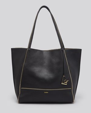 Soho Heavy Grain Pebbled Leather Tote in Black/Gold