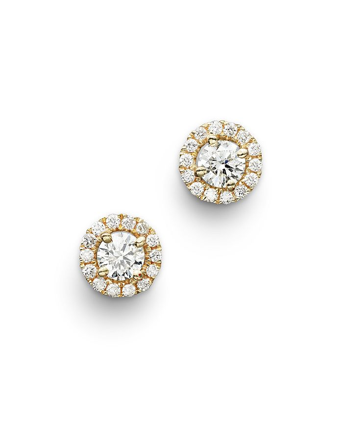 Bloomingdale's - Diamond Halo Studs in 14K Yellow Gold, .50 ct. t.w.- 100% Exclusive