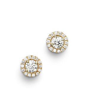 Diamond Halo Studs in 14K Yellow Gold, .30 ct. t.w. - 100% Exclusive