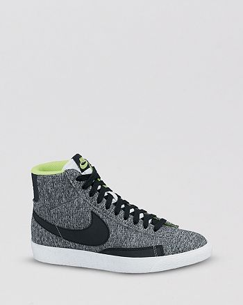 Nike - Lace Up High Top Sneakers - Women's Blazer Mid Textile